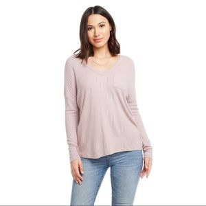 Chaser Drop Neck Thermal Top in Pink Womens Size S